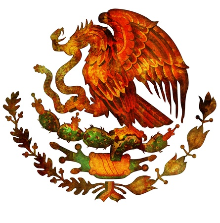 old isolated over white coat of arms of mexico photo