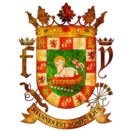 old isolated over white coat of arms of puerto rico photo