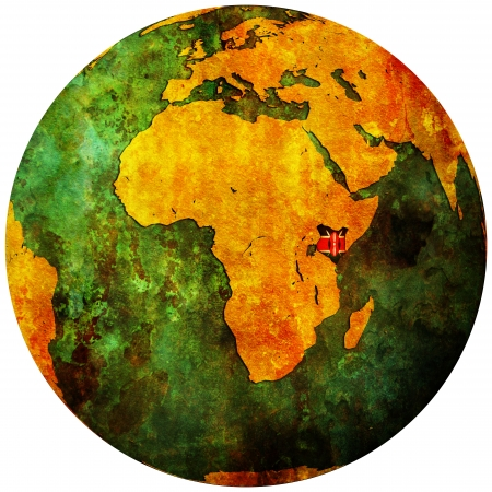 map of africa: kenya territory with flag on map of globe