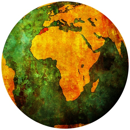 morocco territory with flag on map of globe photo