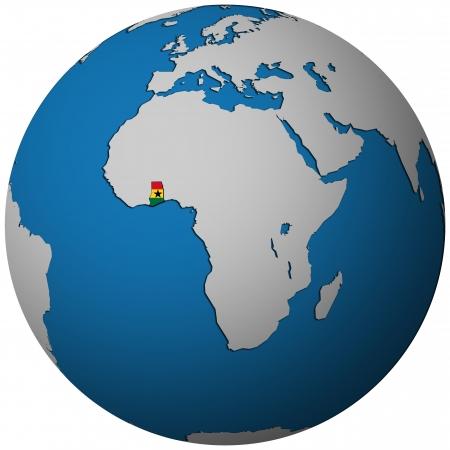 ghana: ghana territory with flag on map of globe
