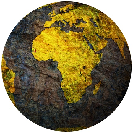 senegal territory with flag on map of globe photo