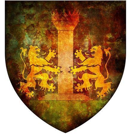 ajaccio: old isolated over white coat of arms of ajaccio