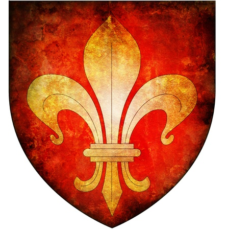 lille: old isolated over white coat of arms of lille