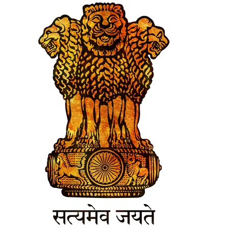 old isolated over white coat of arms of india