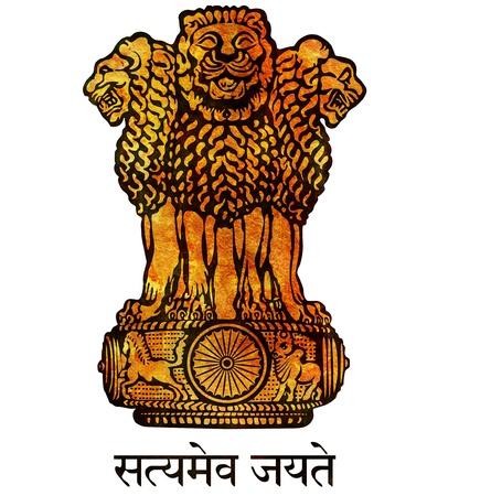 drapeau inde: vieux isol� sur blanc manteau d'armes de l'Inde