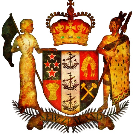 old isolated over white coat of arms of new zealand photo