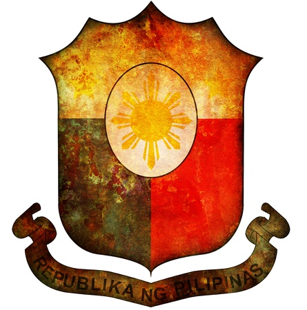 philippines flag: old isolated over white coat of arms of philippines Stock Photo