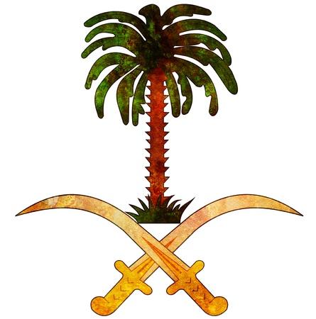 über weiße Wappen von Saudi-Arabien alt isoliert Standard-Bild