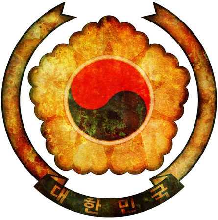 old isolated over white coat of arms of south korea photo