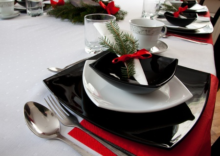 christamas: empty table setting at restaurant waiting for dinner
