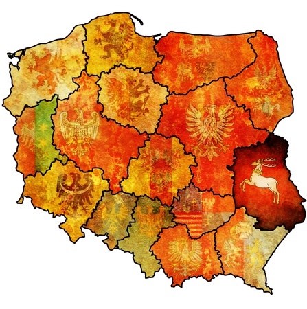 lubelskie: lubelskie region on administration map of poland with flags of other polish provinces and administrative divisions