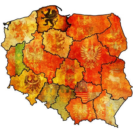 pomeranian region on administration map of poland with flags of other polish provinces and administrative divisions photo