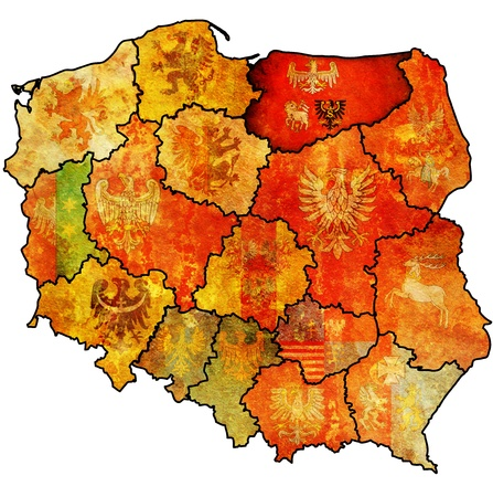 warmian masurian region on administration map of poland with flag of other polish provinces photo
