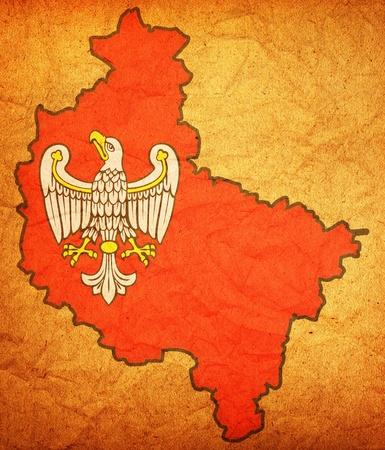 wielkopolskie: map of wielkopolskie region with coat of arm