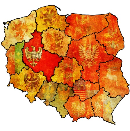wielkopolskie: wielkopolskie region on administration map of poland with flag of other polish provinces Stock Photo