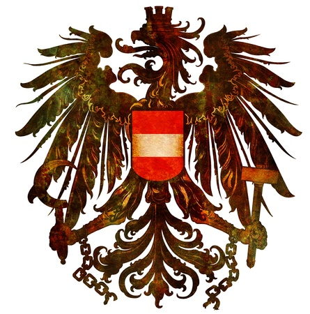 old isolated over white coat of arms of austria photo