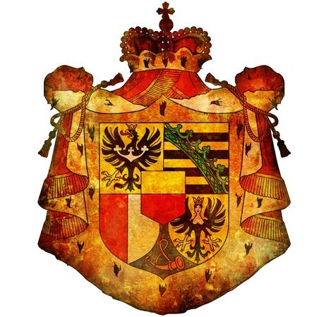liechtenstein: old isolated over white coat of arms of liechtenstein