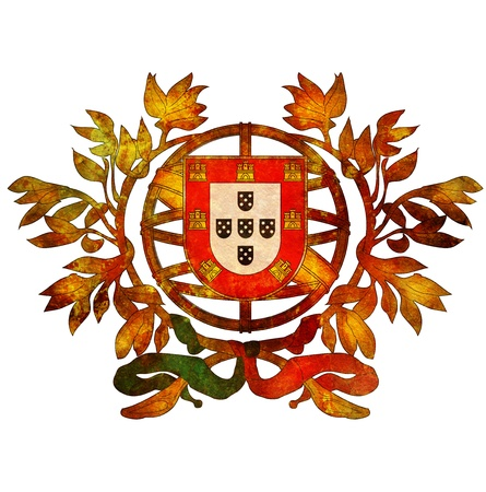 old isolated over white coat of arms of portugal Stock Photo - 14018080