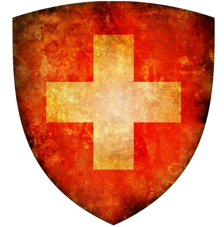 old isolated over white coat of arms of switzerland photo