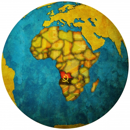 angola territory with flag on map of globe