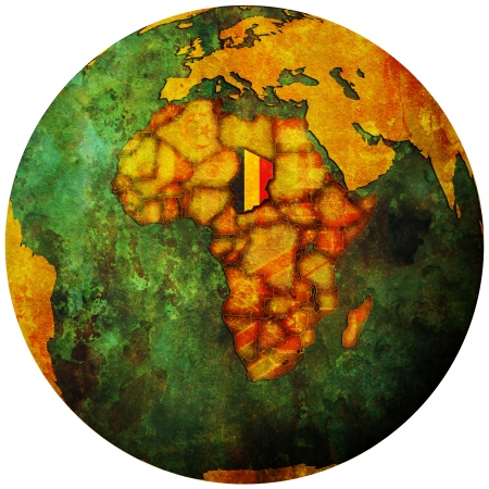 chad: chad territory with flag on map of globe