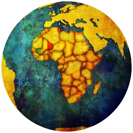 mali territory with flag on map of globe Stock Photo - 14209894
