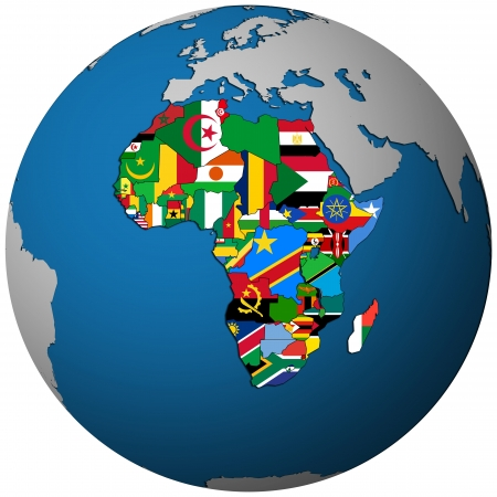 african countries territories with flag on map of globe isolated over white photo