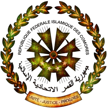 comores: old isolated over white coat of arms of comores
