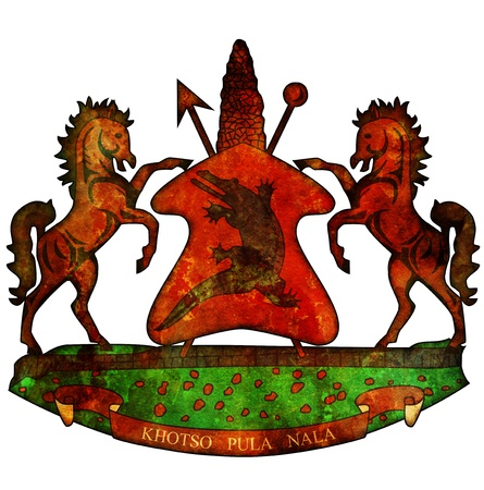 lesotho: old isolated over white coat of arms of lesotho Stock Photo