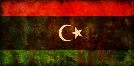 some old vintage flag of african country libya photo