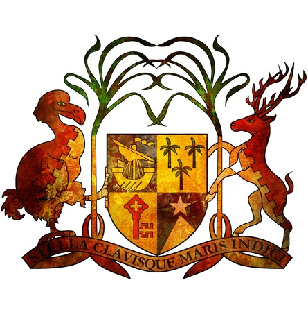 mauritius: old isolated over white coat of arms of mauritius