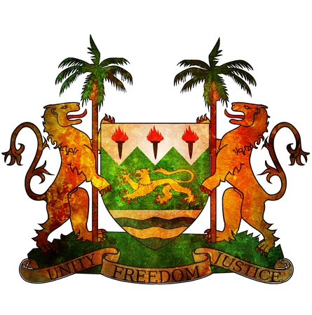old isolated over white coat of arms of sierra leone photo