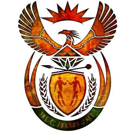 old isolated over white coat of arms of south africa photo