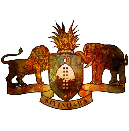 swaziland: old isolated over white coat of arms of swaziland