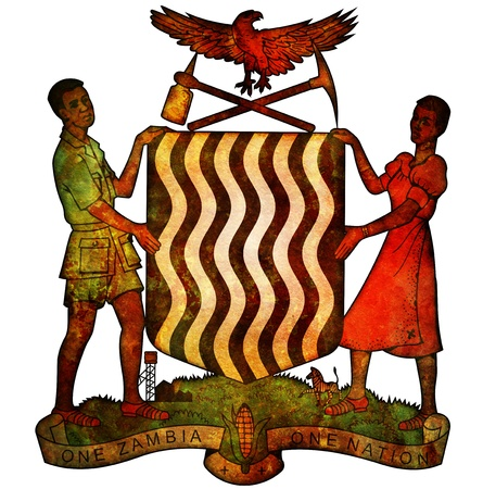 zambia: old isolated over white coat of arms of zambia Stock Photo