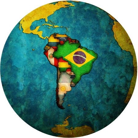 map of south american countries on isolated over white map of globe photo