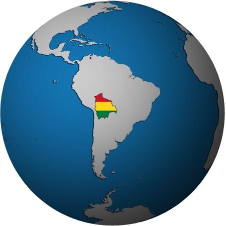 bandera bolivia: Mapa de la bandera de Bolivia en blanco aislado sobre el mapa del mundo