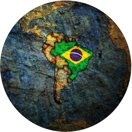 map with flag of brazil on isolated over white map of globe Stock Photo - 16024892
