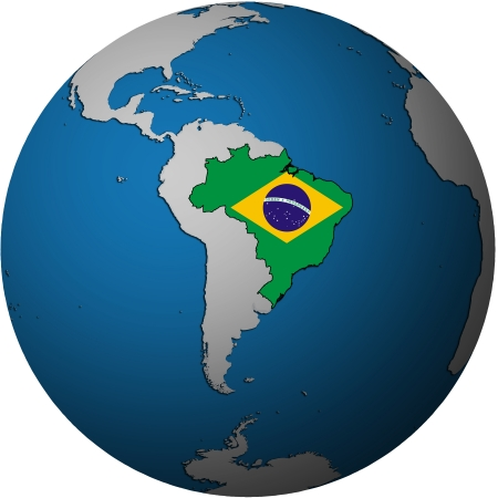 map with flag of brazil on isolated over white map of globe