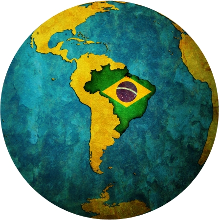 brazil symbol: map with flag of brazil on isolated over white map of globe