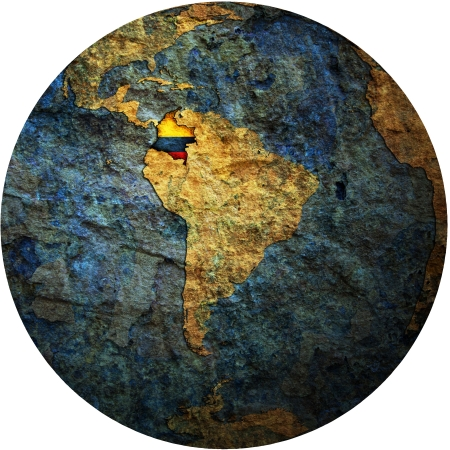 map with flag of colombia on isolated over white map of globe photo
