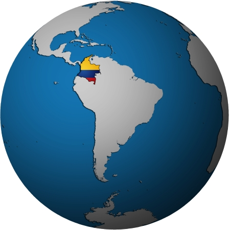 territories: map with flag of colombia on isolated over white map of globe