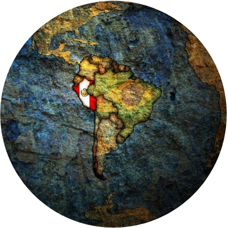 map with flag of peru on isolated over white map of globe