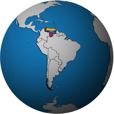 bandera de venezuela: Mapa de la bandera de Venezuela en el mapa aislado sobre blanco del globo