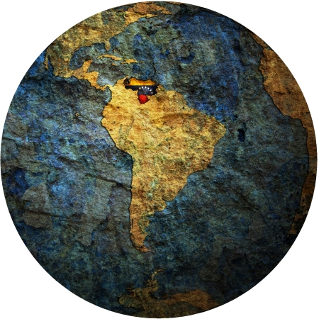 map with flag of venezuela on isolated over white map of globe photo