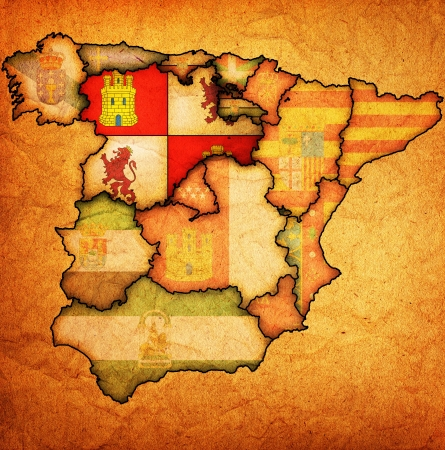castilla: castilla and leon region on administration map of regions of spain with flags and emblems Stock Photo