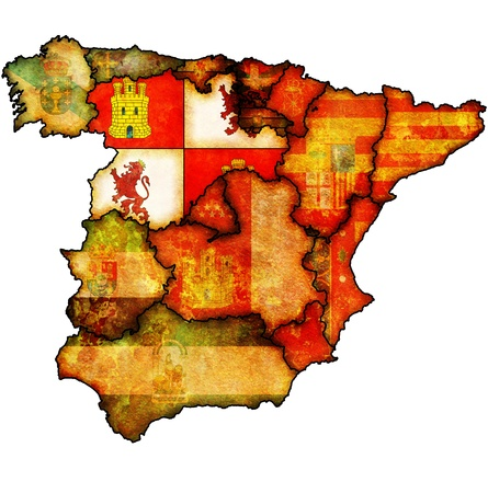 leon: castilla and leon region on administration map of regions of spain with flags and emblems Stock Photo