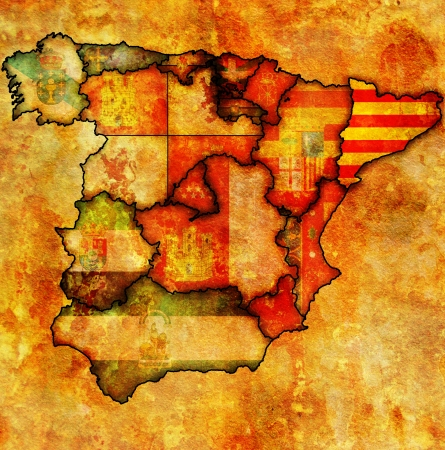 catalonia region on administration map of regions of spain with flags and emblems photo