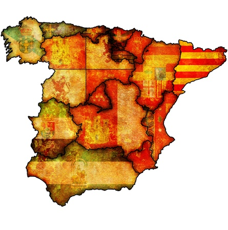 flag of spain: catalonia region on administration map of regions of spain with flags and emblems